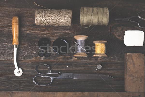 Varr tűk stílus anyagok stúdió fotó Stock fotó © BrunoWeltmann