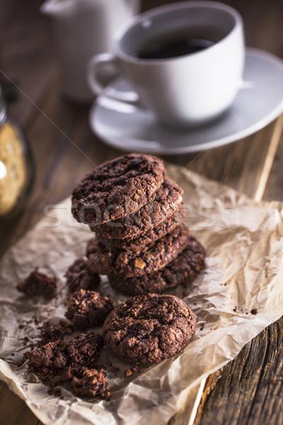 Zdjęcia stock: Kawy · słodycze · drewniany · stół · studio · papieru