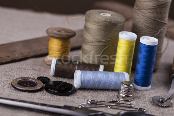 Sewing instruments, threads, needles, bobbins and materials. Stock photo © BrunoWeltmann