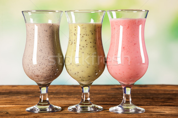 Stock photo: Healthy diet, protein shakes and fruits