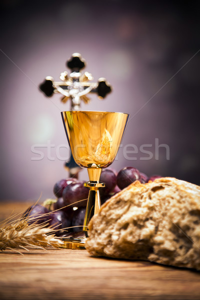Sacred objects, bible, bread and wine Stock photo © BrunoWeltmann