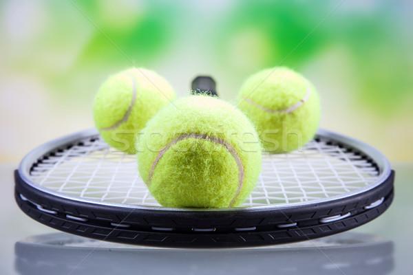 Szett teniszütő labda stúdiófelvétel fény tenisz Stock fotó © BrunoWeltmann