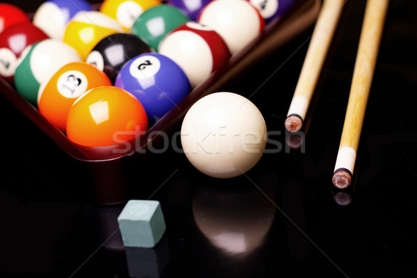Billiard on black background Stock photo © BrunoWeltmann