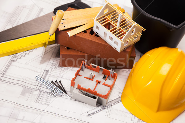 épület építkezés felszerlés tervrajzok otthon háttér Stock fotó © BrunoWeltmann