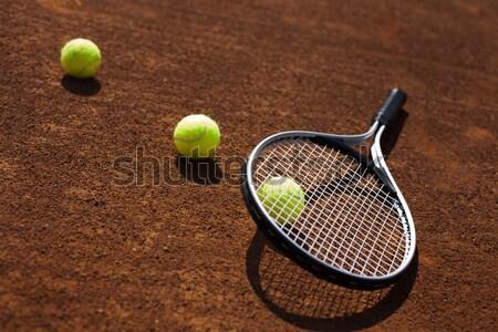 Tenis cohete tribunal campo Foto stock © BrunoWeltmann
