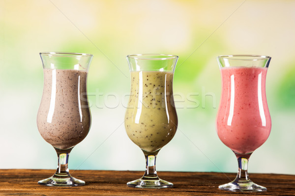 Healthy diet, protein shakes and fruits Stock photo © BrunoWeltmann