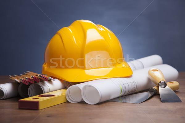 Blauwdrukken werk tools huis gebouw bouw Stockfoto © BrunoWeltmann
