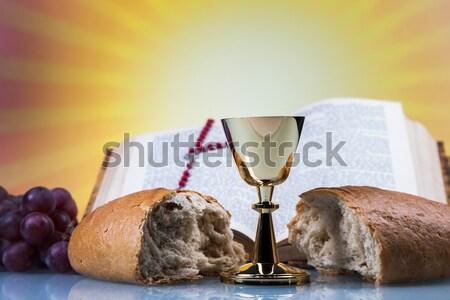 Stock fotó: Szent · tárgyak · Biblia · kenyér · bor · könyv
