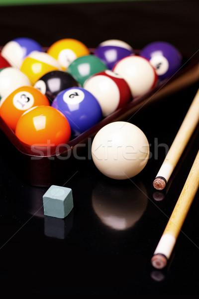 Biliárd fekete sport háttér asztal zöld Stock fotó © BrunoWeltmann