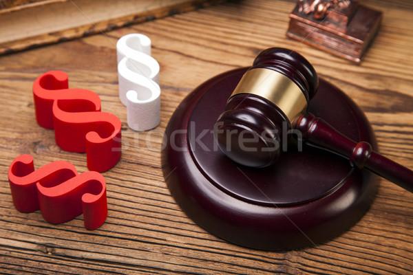 Prawa sprawiedliwości młotek biały sędzia równowagi Zdjęcia stock © BrunoWeltmann