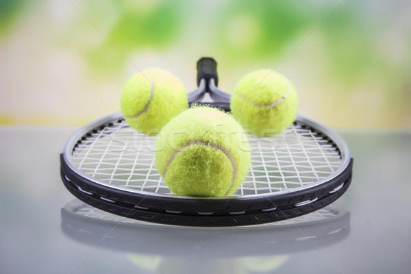 Establecer raqueta de tenis pelota tenis estudio Foto stock © BrunoWeltmann