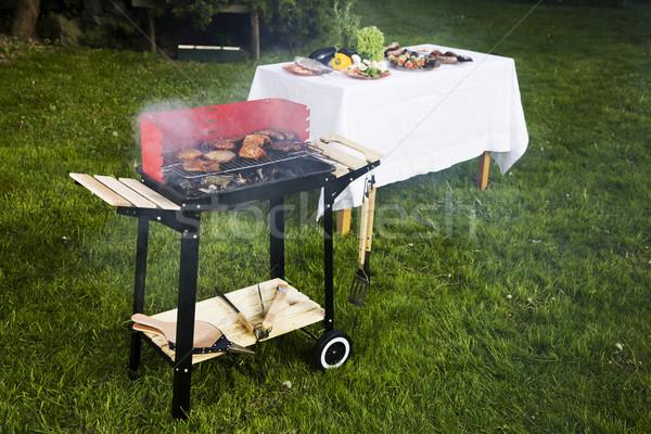 ストックフォト: グリル · 時間 · バーベキュー · 庭園 · 食品 · パーティ