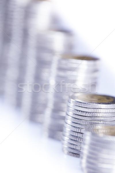 Pénz érmék izolált fehér üzlet bank Stock fotó © BrunoWeltmann