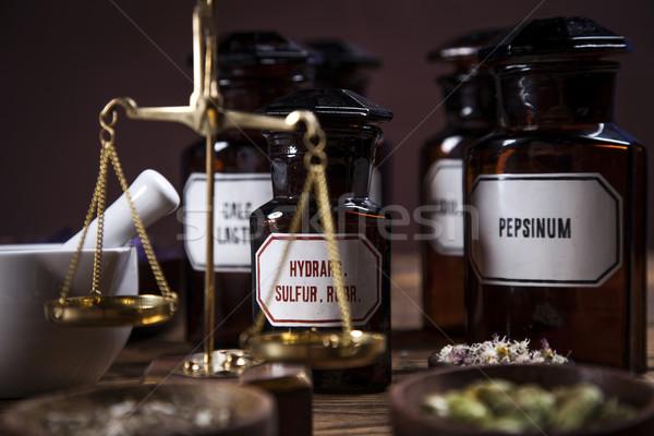 ősi természetes gyógymódok gyógynövények könyv üveg kék Stock fotó © BrunoWeltmann