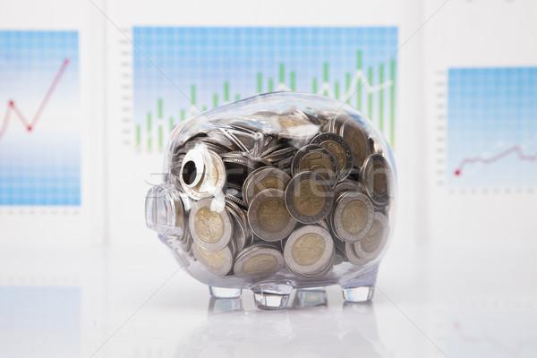 Savings in piggy bank! A lot of money! Stock photo © BrunoWeltmann