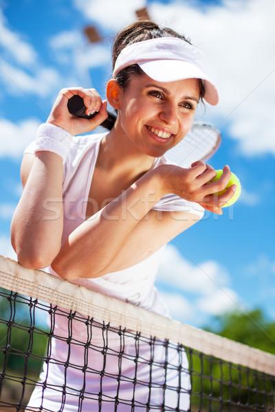女性 演奏 テニス テニスコート 女性 空 ストックフォト © BrunoWeltmann