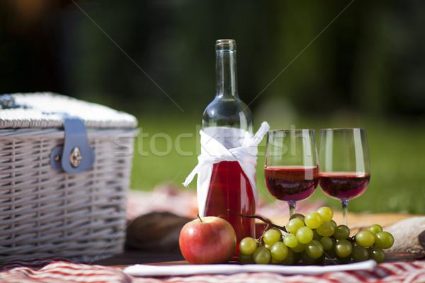 Piknik idő friss étel kosár kert tavasz Stock fotó © BrunoWeltmann