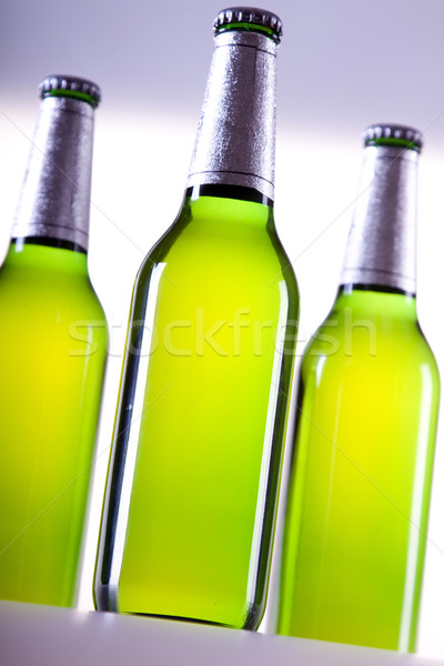 Chilled beer on white background Stock photo © BrunoWeltmann