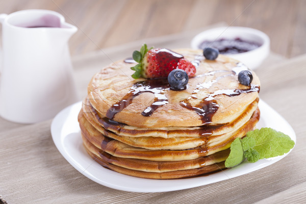 ストックフォト: 甘い · アメリカン · パンケーキ · プレート · 新鮮な