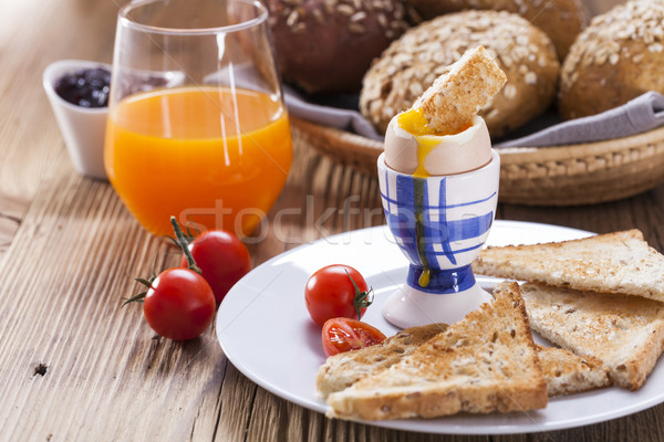 Stock photo: Soft-boiled egg in the morning with pepper, tomatoes and crouton