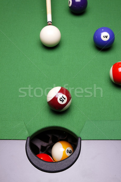 Billiard on green table Stock photo © BrunoWeltmann