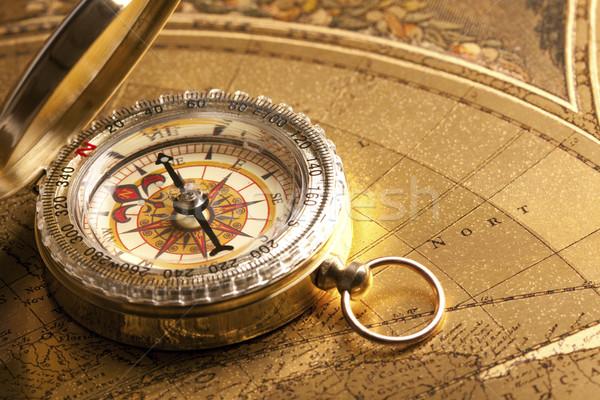 Navigáció felszerlés öreg papír világ háttér Stock fotó © BrunoWeltmann