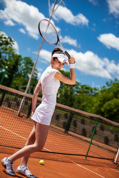 女性 演奏 テニス テニスコート 女性 少女 ストックフォト © BrunoWeltmann