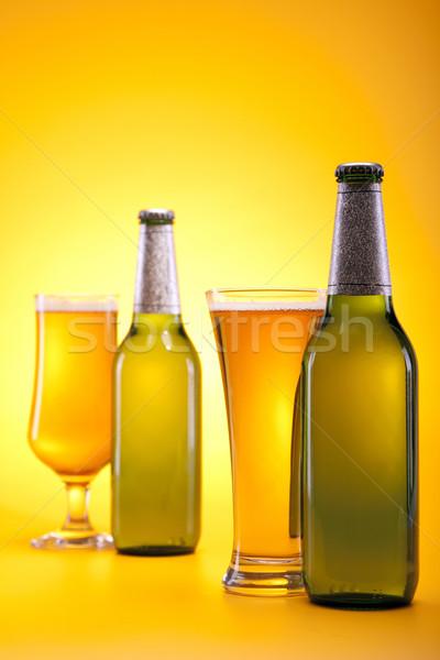 Bira sarı parti bar şişe altın Stok fotoğraf © BrunoWeltmann