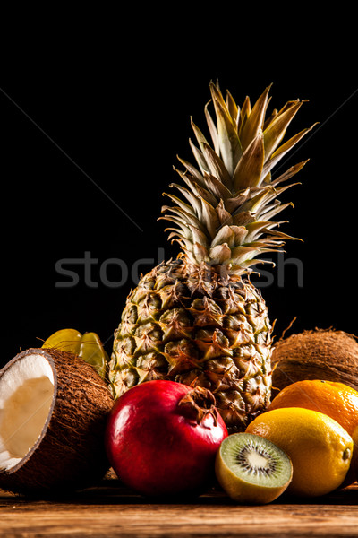 Stock photo: Super tasty tropical fruits on wooden table