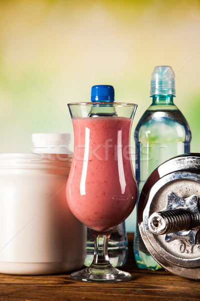 Healthy diet, protein shakes and fruits Stock photo © BrunoWeltmann