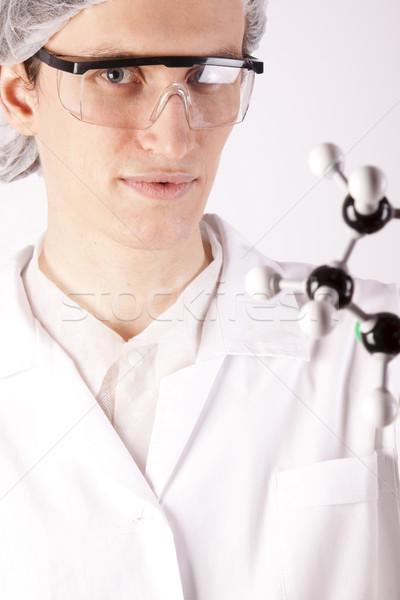 Foto stock: Cientista · sorrir · cara · trabalhar · médico · tecnologia