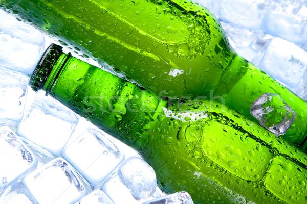 Frío cerveza hielo fiesta vidrio burbujas Foto stock © BrunoWeltmann