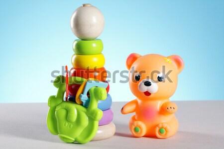 Baby Speelgoed Tabel Achtergrond Leuk Jongen Stockfoto