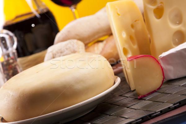 Stockfoto: Kaas · wijn · voedsel · groep · boerderij · fles