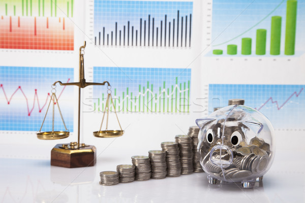 Savings in piggy bank! A lot of money! Stock photo © BrunoWeltmann