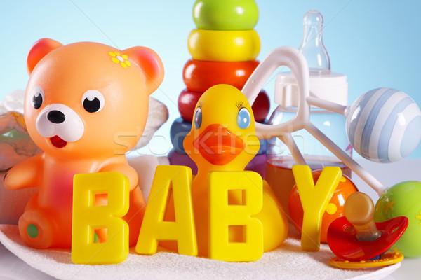 Baby speelgoed tabel achtergrond leuk jongen Stockfoto © BrunoWeltmann