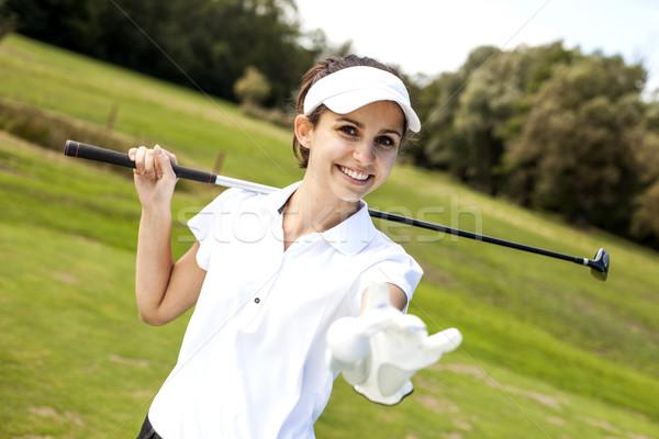 Сток-фото: портрет · женщину · играет · гольф · лет · улыбка