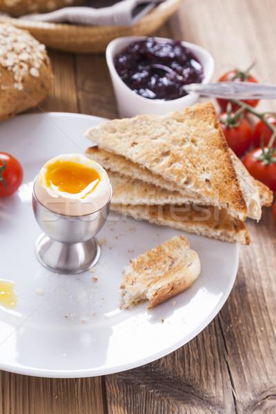 яйцо утра перец помидоров гренок для супа Jam Сток-фото © BrunoWeltmann