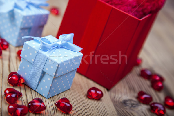 Valentine's Day, the day of lovers! Gifts and passionate red Stock photo © BrunoWeltmann