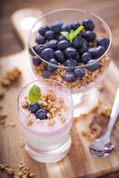 Delicious dessert with fruits and flakes Stock photo © BrunoWeltmann