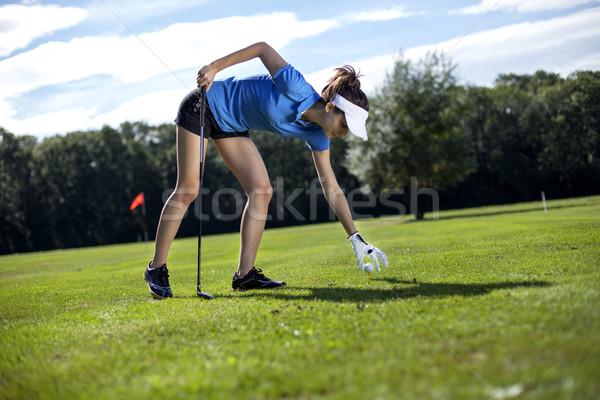 Сток-фото: довольно · девушки · играет · гольф · трава · лет