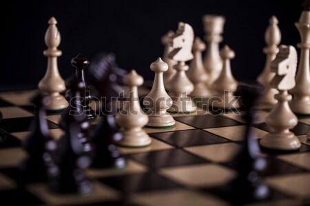 Scacchi bianco vs nero legno scacchiera Foto d'archivio © BrunoWeltmann