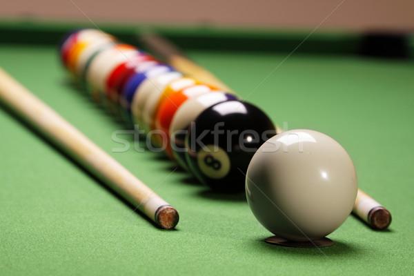 Stock fotó: Medence · játék · sport · háttér · asztal · zöld