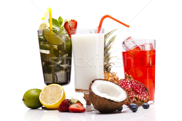 Exotic alcohol drinks set with fruits Stock photo © BrunoWeltmann
