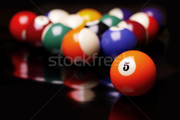Billiard on black background Stock photo © BrunoWeltmann