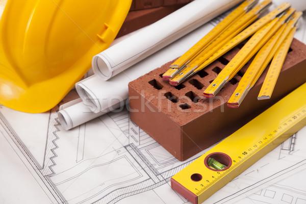 Edifício construção equipamento blueprints casa fundo Foto stock © BrunoWeltmann