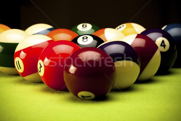 Pool game on green table Stock photo © BrunoWeltmann