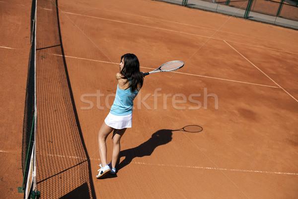 Foto stock: Jovem · jogar · quadra · de · tênis · menina · belo