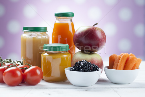 healthy ready-made baby food on a wooden table Stock photo © BrunoWeltmann