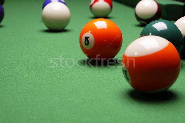 Foto stock: De · bilhar · verde · tabela · esportes · fundo · clube